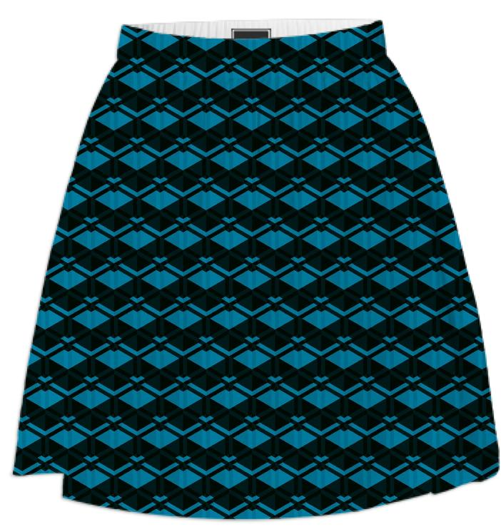Blue Diamond Pattern Skirt