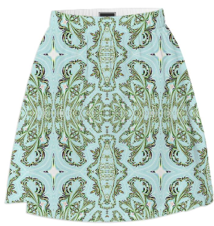 Blue Green Pattern Summer Skirt