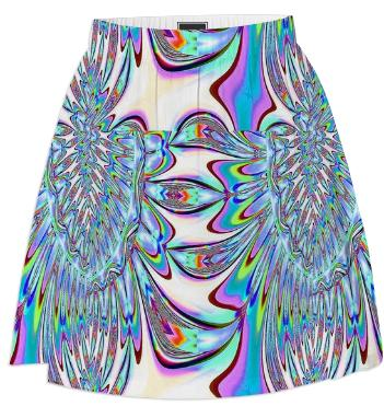 Blue Leaves Abstract Summer Skirt