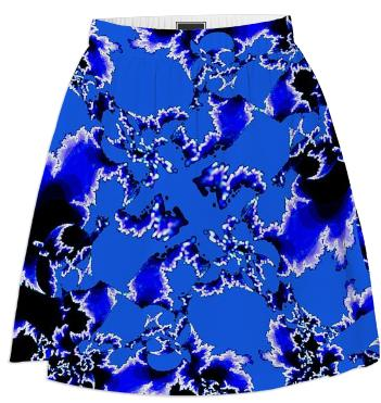 Blue White Fractal Summer Skirt