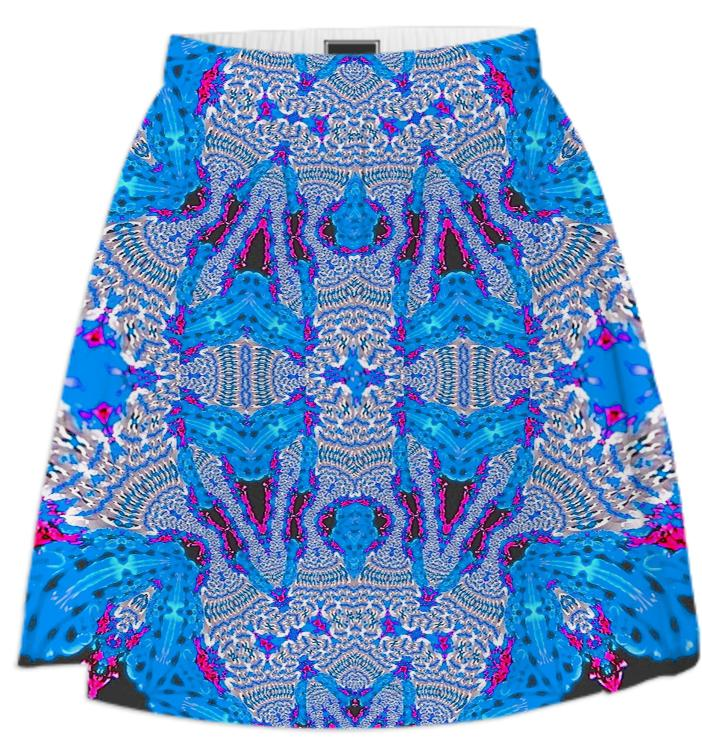 Blue White Lace Pattern Summer Skirt