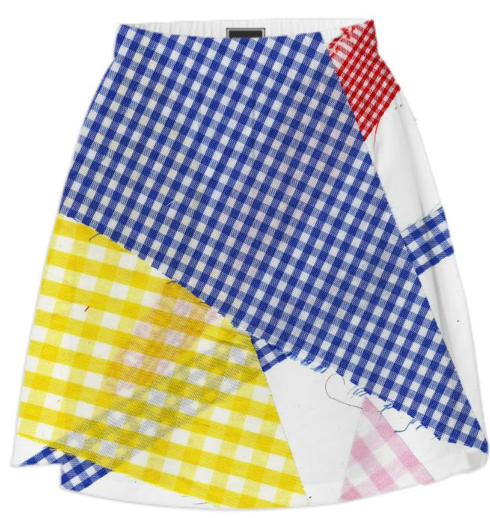 PAOM, Print All Over Me, digital print, design, fashion, style, collaboration, cheryl-donegan, cheryl donegan, Summer Skirt, Summer-Skirt, SummerSkirt, Broken, Gingham, Multi, spring summer, unisex, Poly, Bottoms