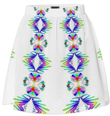 Colorful Pattern on White Summer Skirt