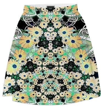 Daisy Flowers Fractal Summer Skirt