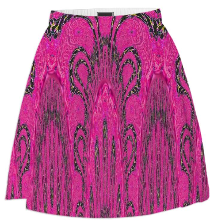 Dark Pink and Black Abstract Summer Skirt
