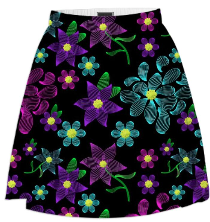 Glowing Linear Floral Summer Skirt