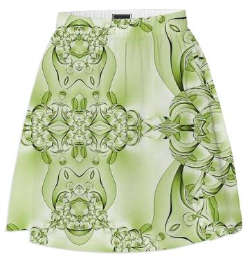 Green on Green Abstract Summer Skirt