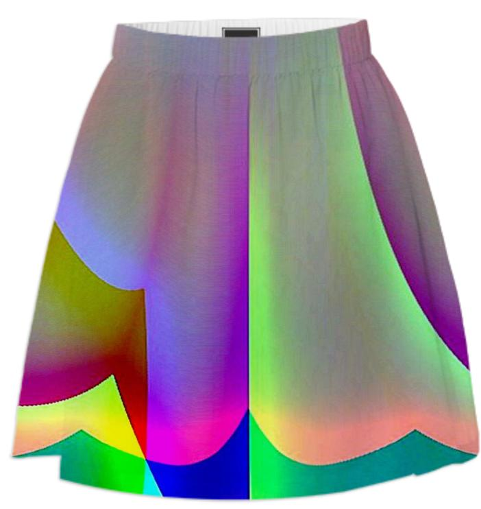Green Purple Rainbow Summer Skirt