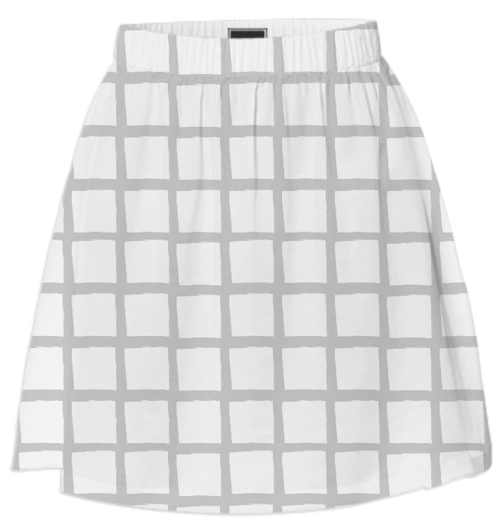 Grey and White Grid Skirt