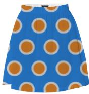 Orange on Blue Polka Dot Summer Skirt