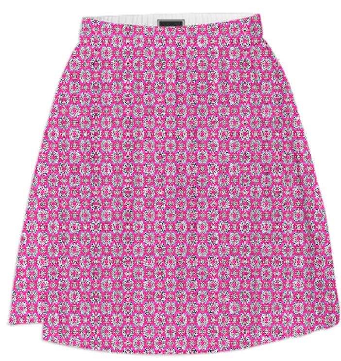 Pink Flower Pattern Summer Skirt
