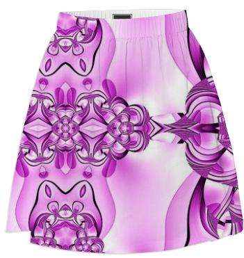 Purple White Abstract Summer Skirt
