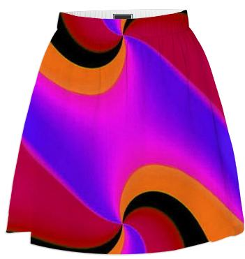 Red Pink Orange Fractal Summer Skirt