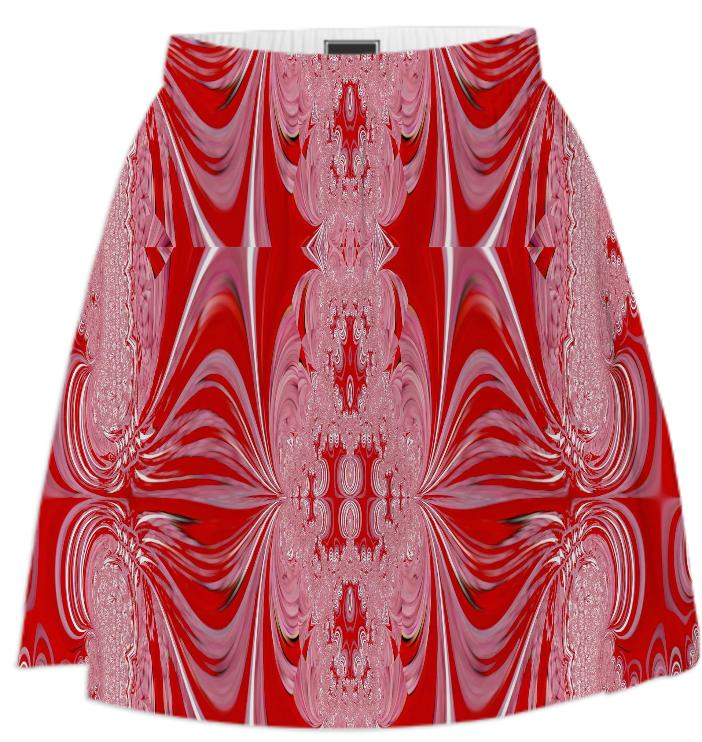 Red White Abstract Summer Skirt