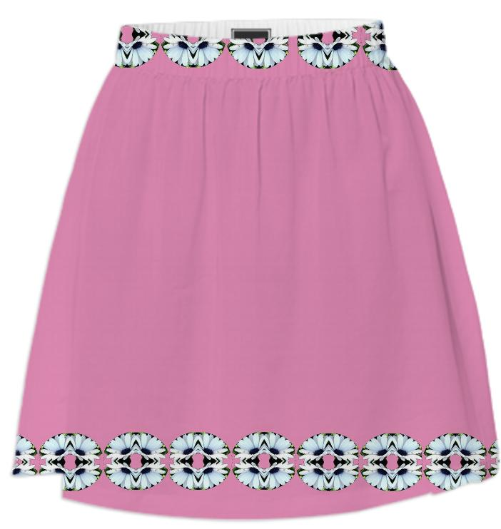 White Daisies on Pink Summer Skirt