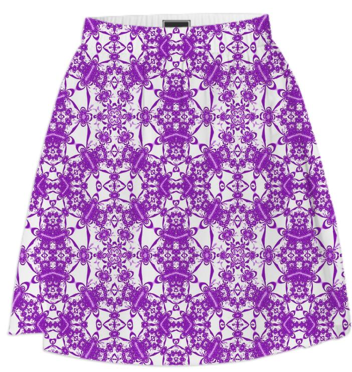White Purple Lace Summer Skirt