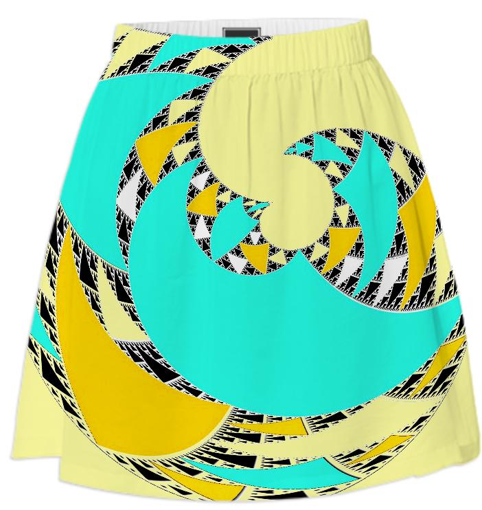 Yellow Aqua Abstract Swirl Summer Skirt
