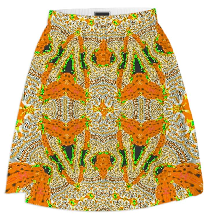 Yellow Orange Pattern Summer Skirt