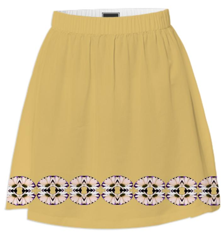 Yellow with Pink Daisies Summer Skirt