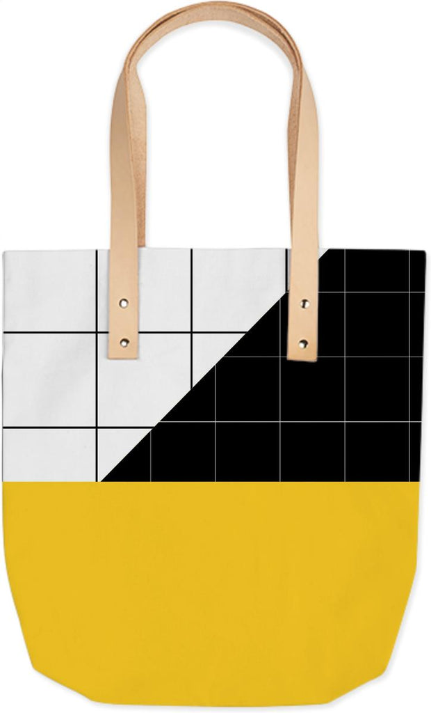 Black and White Grid with Yellow Stripe Summer Tote