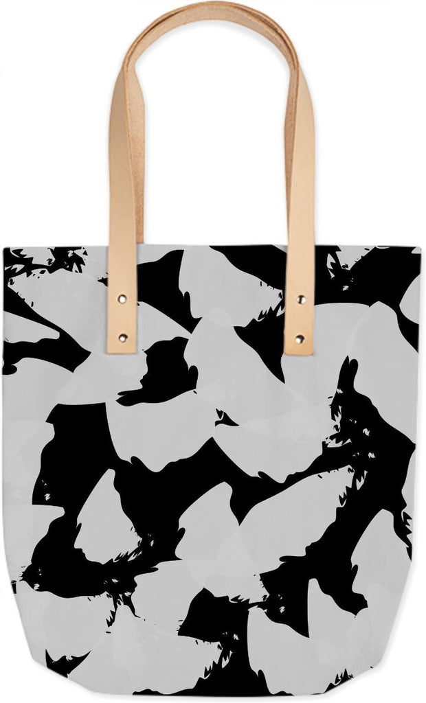Grey Bird Wings on Black Tote