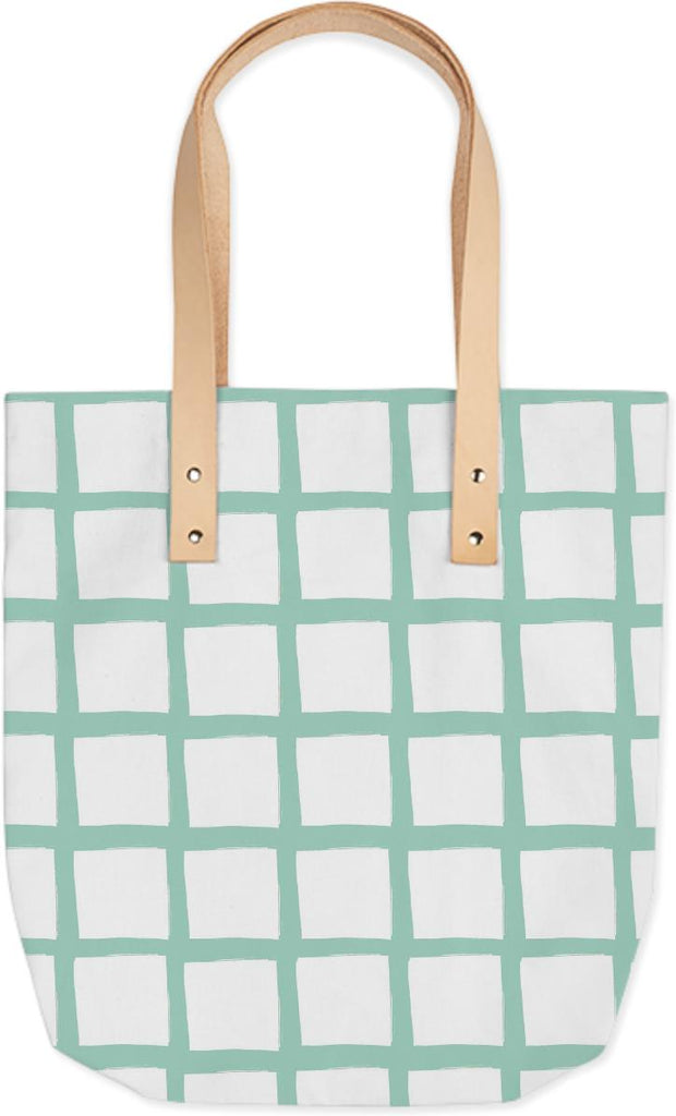 Mint and White Grid Tote