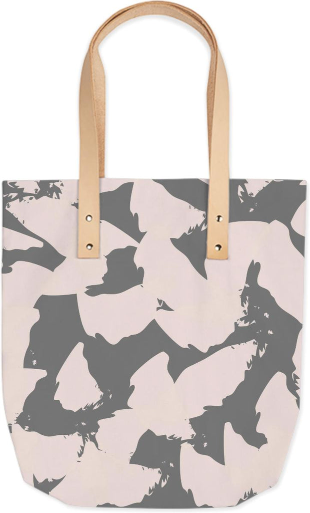 Pastel Pink Bird Wings on Gray Tote