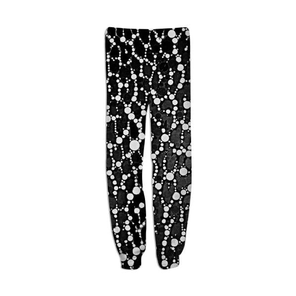 Black White Leopard Bling Print Sweatpants