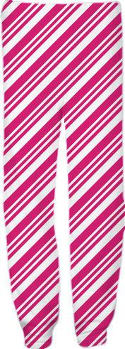 Pink and White Diagonal Stripes
