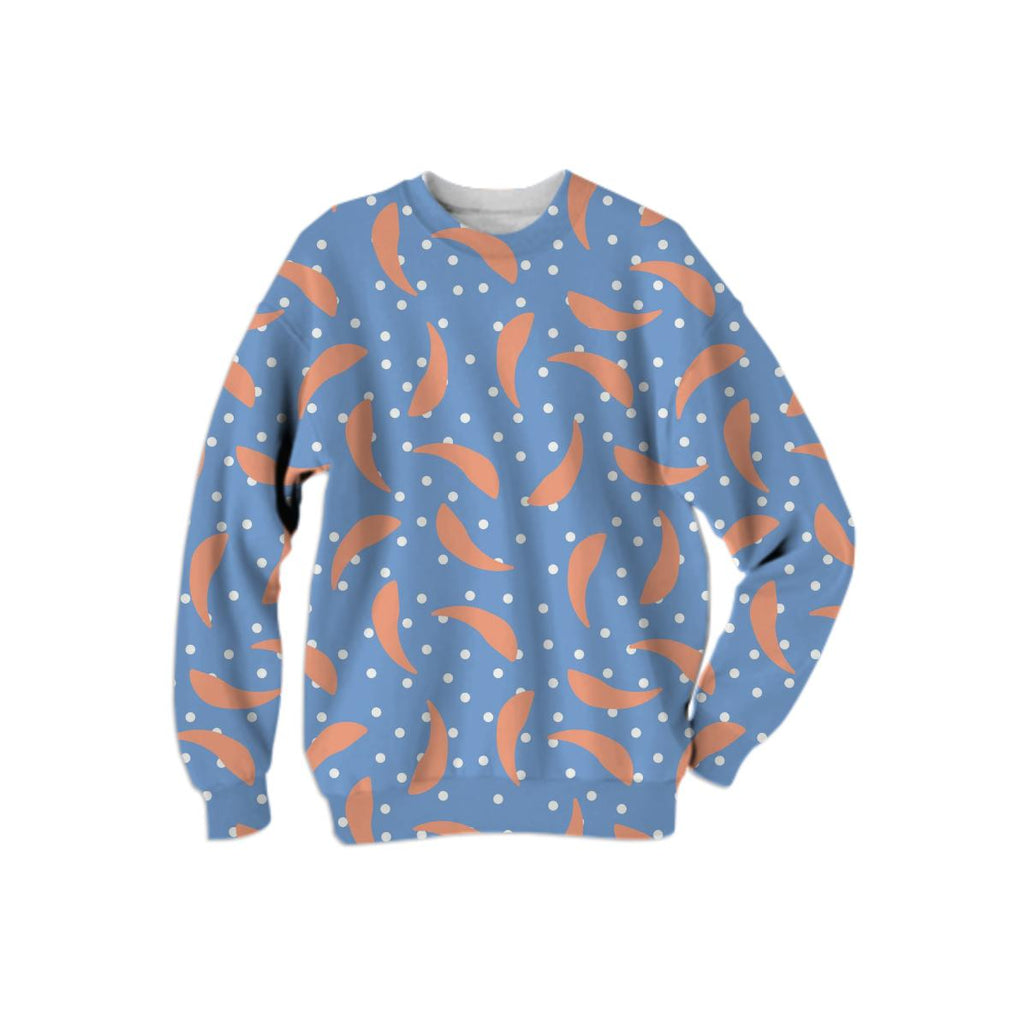 Peach Banana on Blue Polka Dot Sweatshirt