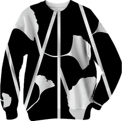 Black and White Graphic Floral Sweatshirt