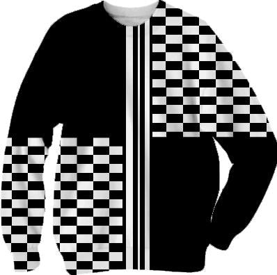 Black and white striped check