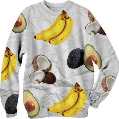 PAOM, Print All Over Me, digital print, design, fashion, style, collaboration, simseema, Cotton Sweatshirt, Cotton-Sweatshirt, CottonSweatshirt, Favorite, Fruits, autumn winter, unisex, Cotton, Tops