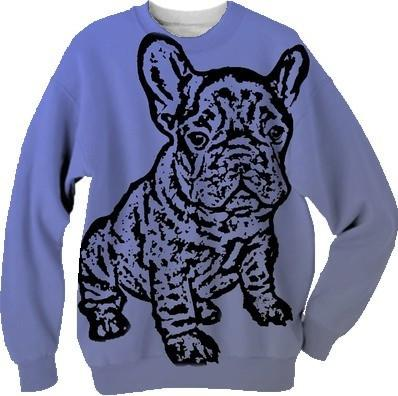 French Bulldog blue and gray sweatshirt