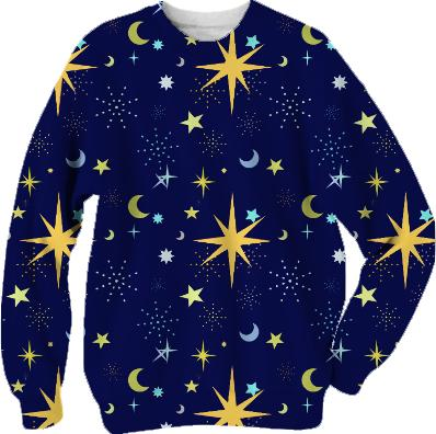 Night Sky Pattern with Moons and Stars Sweatshirt