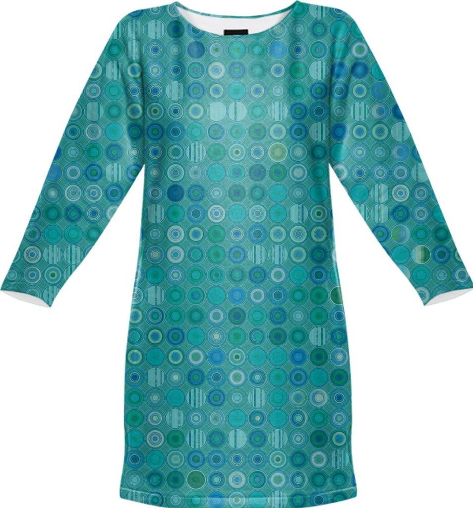 Blue Green Dots with Scattered Patterns sweatshirt dress