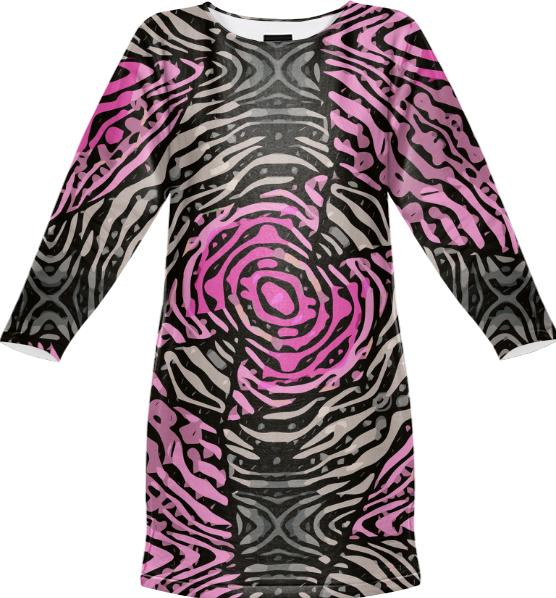 Funky Pink Black Animal Print Sweatshirt Dress