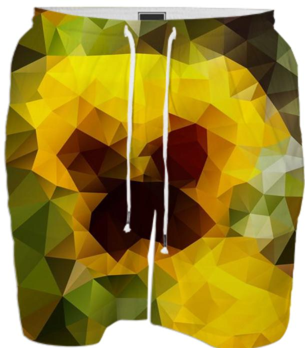 POLYGON TRIANGLES PATTERN YELLOW GREEN ABSTRACT POLYART GEOMETRIC - PAOM