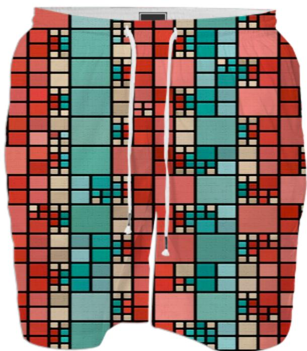 Red and green squares pattern
