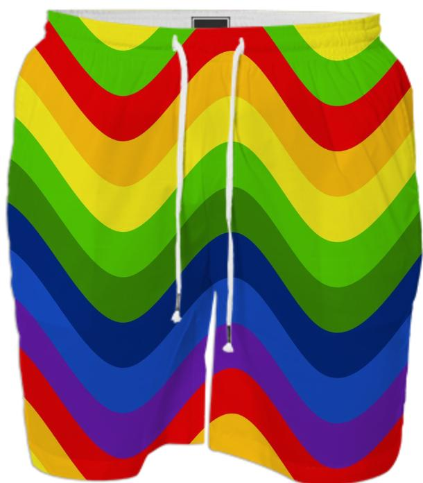 Wavy Rainbow stripes Swim Trunks