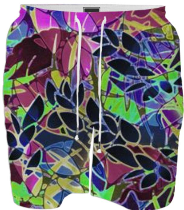 SWIM SHORT Floral Abstract Artwork G19