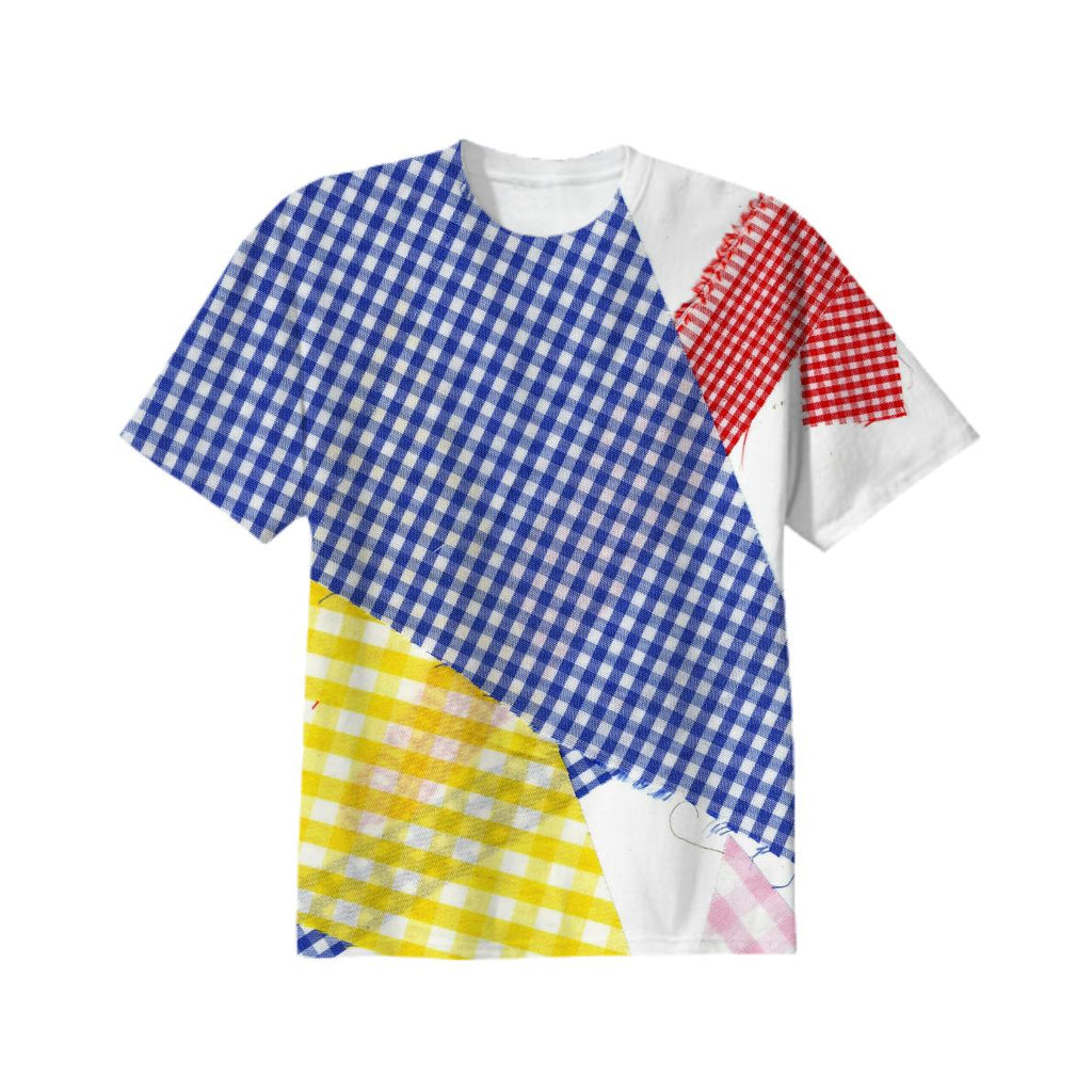 broken gingham T in 4 colors