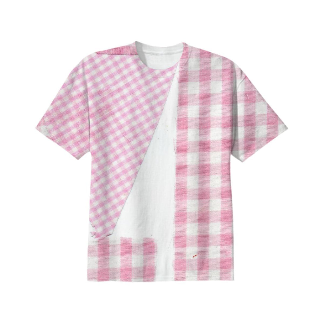 Broken Gingham Tee in Pink