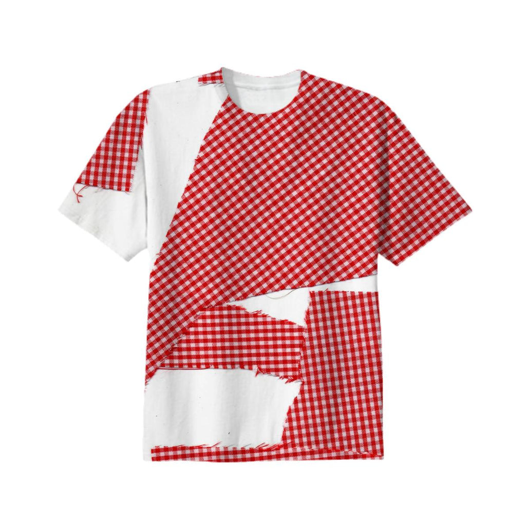 broken gingham T shirt in red