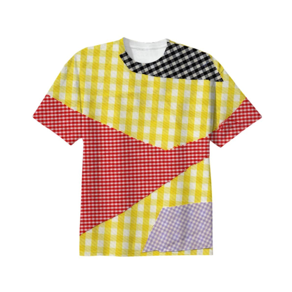 broken gingham T shirt in Yellow Red Black Violet