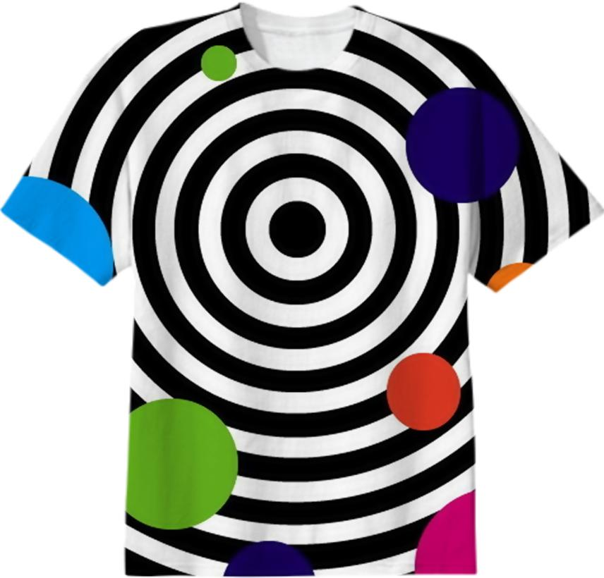 Fun Cute Colorful Dots on Black and White Circles