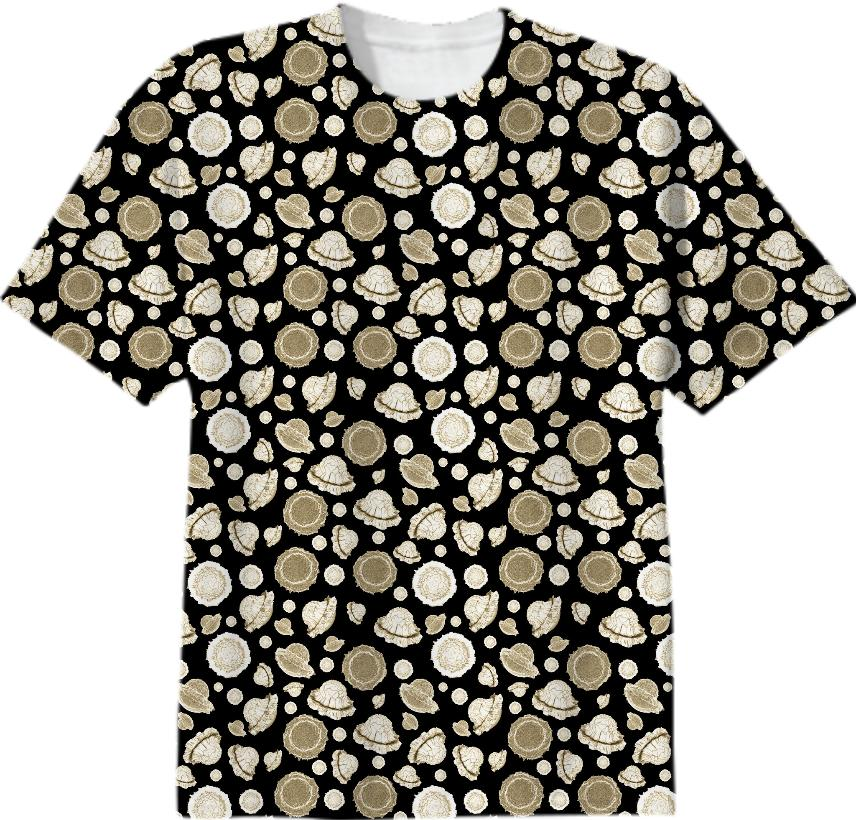 galactic flower gold t shirt