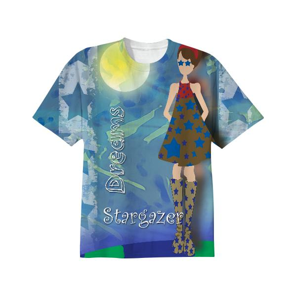 Girl on Top of the World with Stars in Her Eyes T Shirt
