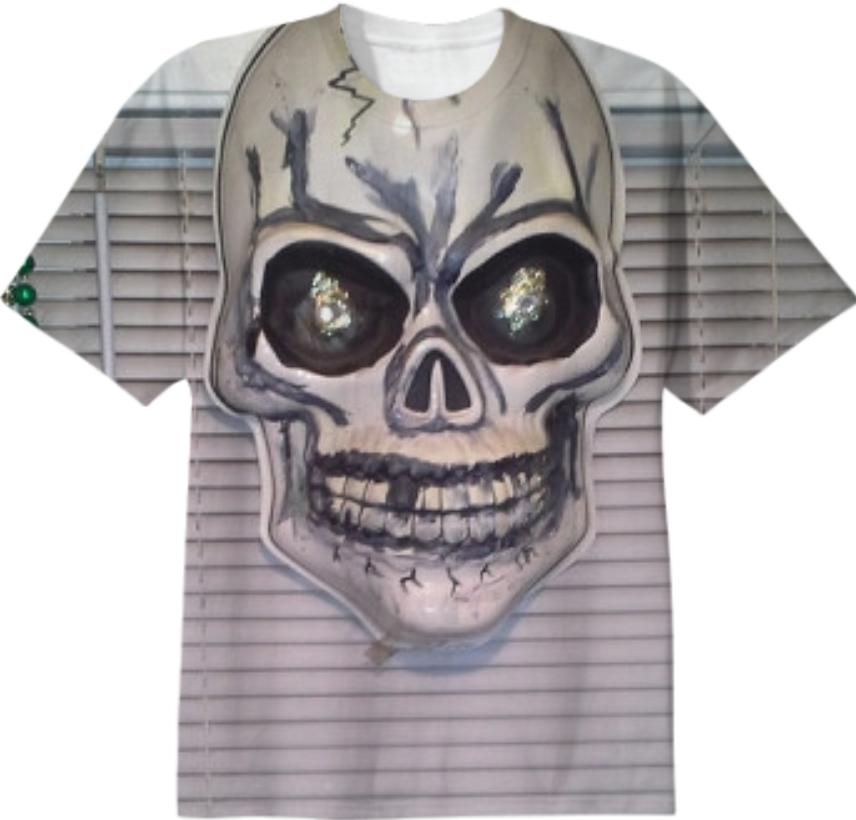 GREY SKULL STRIPES T Shirt by L e Dubin