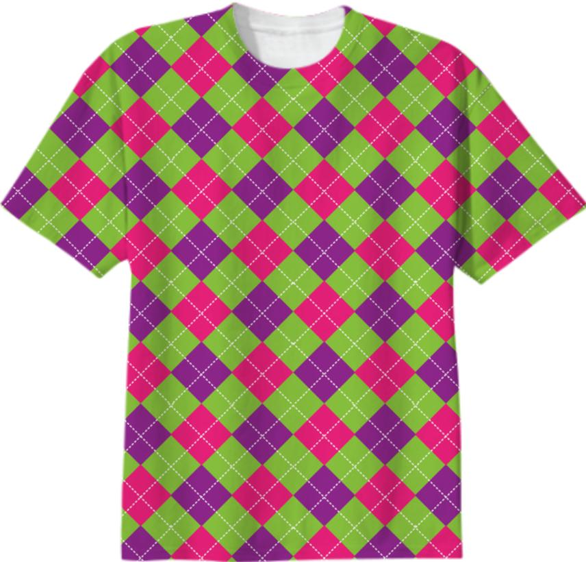 PINK PURPLE GREEN ARGYLE PATTERN T SHIRT